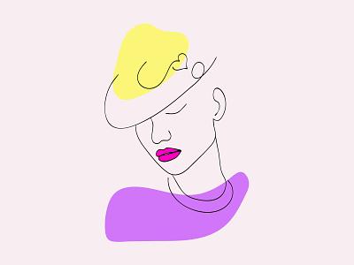 line art portreit face woman vector clean ux typography illustrator illustration graphic design flat design art