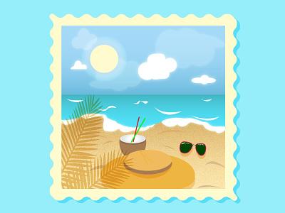 summer seascape animation clean ux typography illustrator illustration graphic design flat design art