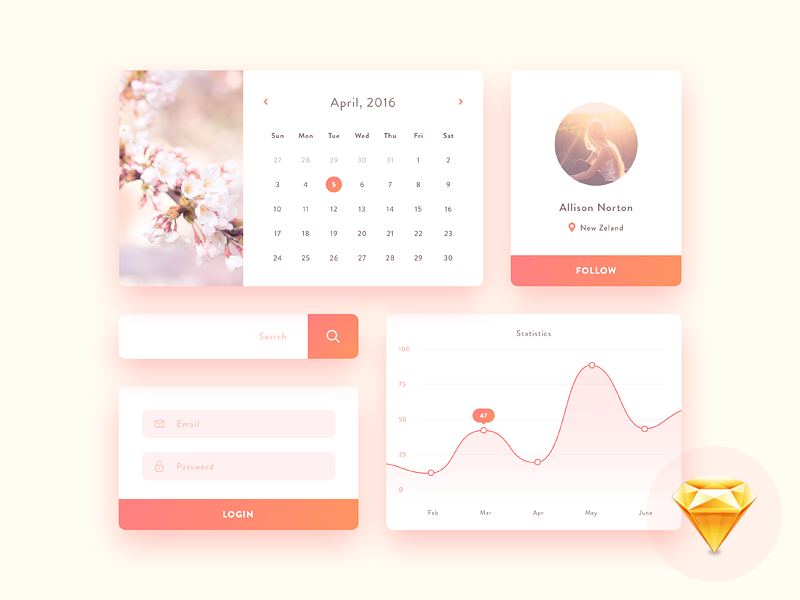 Mini UI kit - free Sketch  log in mobile profile graph chart sign up search calendar ui kit sketch free freebie