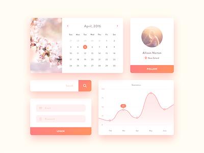 Mini UI kit - free Sketch  log in mobile profile graph chart sign up search calendar ui kit sketch free freebie