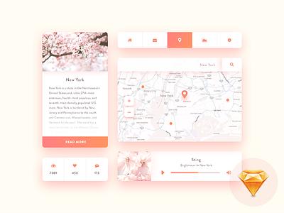 Mini UI kit 2 - free Sketch menu navigation source sketch freebie free ui ui kit profile social player map