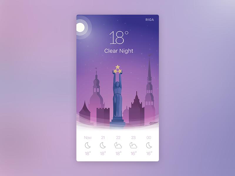 Night weather app widget illustration widget night riga daily ui weather app mobile