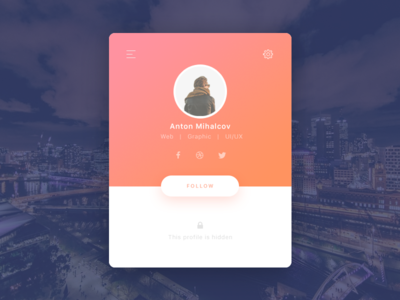 Daily UI - profile page gradient intern follow navigation social profile daily ui