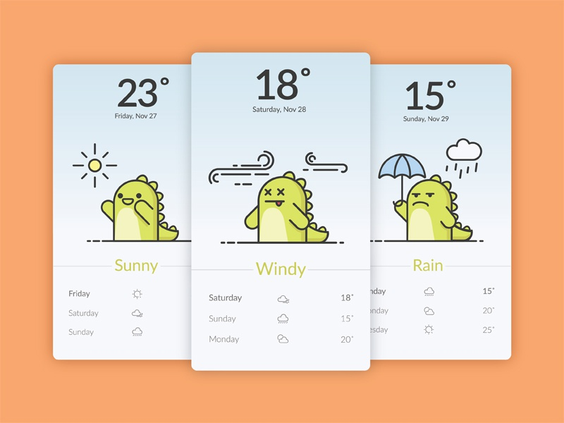 Funny Dino illustration weather app fun funny mobile app weather cartoon dino illustration