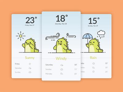 Funny Dino illustration weather app