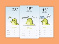 Funny Dino illustration weather app