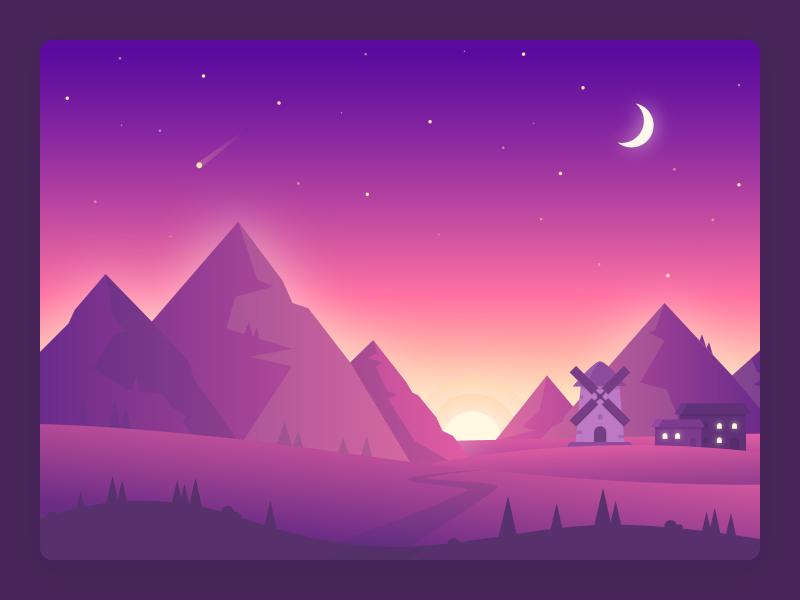 Landscape illustration mountains view night landscape illustration