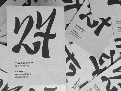 №27 prints deboss numeral letterpress lettering typebrigade