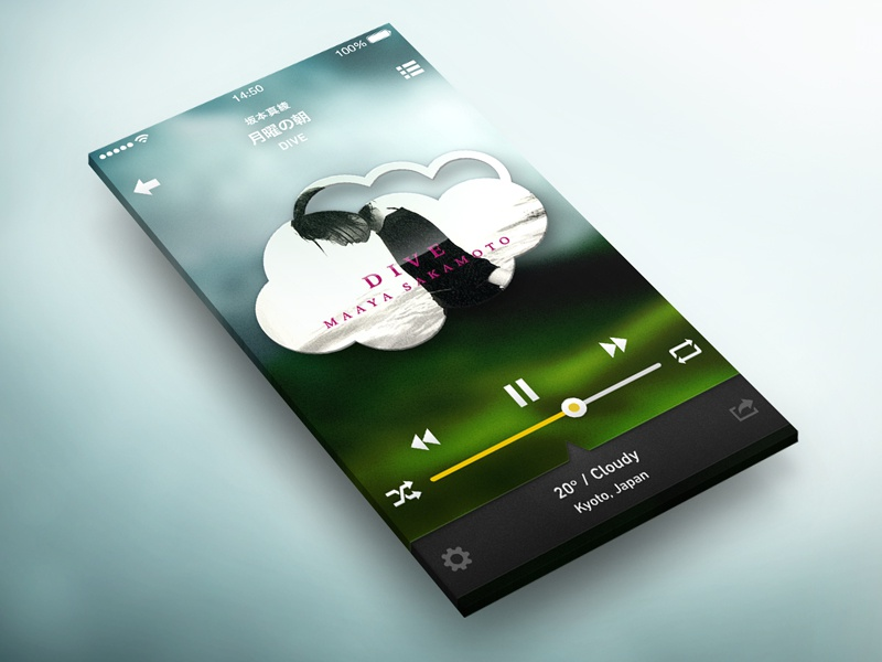 Weather x Music photoshop app concept flat ios iphone ui weather music
