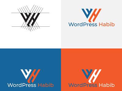 WH Letter Logo vector branding minimal illustrator illustration icon graphic design flat design logo letter logo
