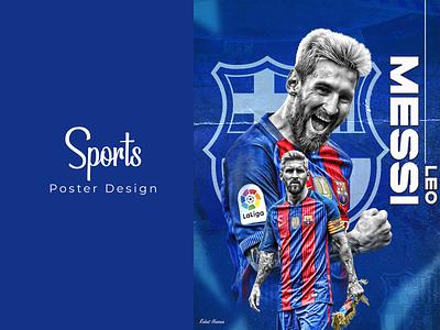 Sports Poster Design laliga football flat vector branding ui illustrator illustration icon design logo graphic design messi leo messi sports sports poster design