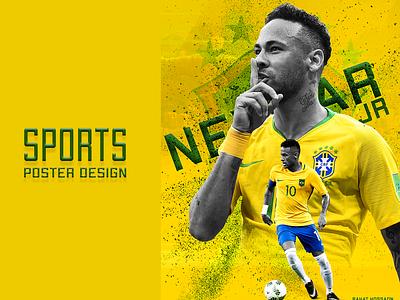 Neymar Sports Poster football ui vector branding illustrator flat illustration icon design logo neymar sports poster graphic design neymar sports poster