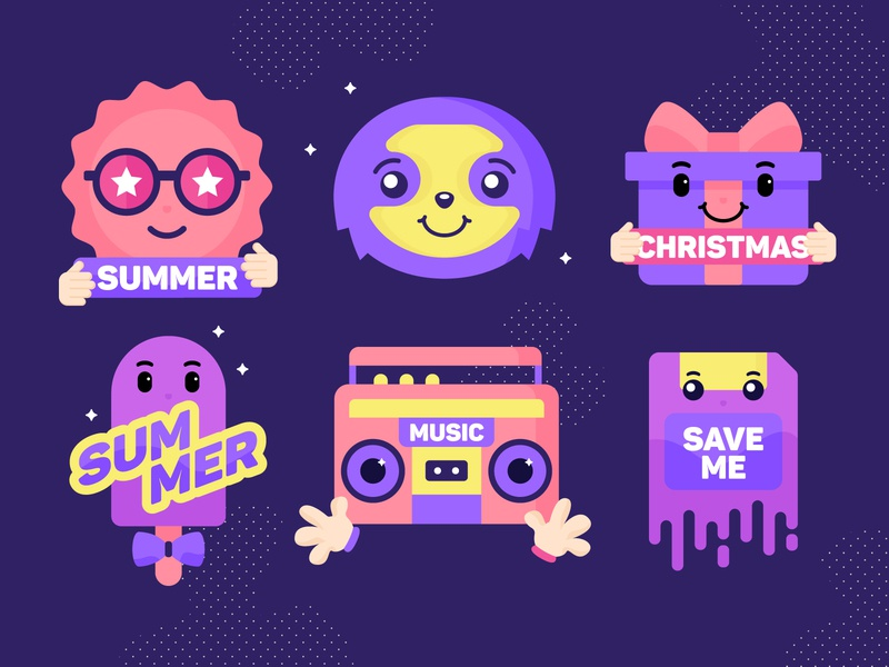 Various Stickers christmas music summer save me sloth sticker design stickers art direction sticker design graphicdesign illustration