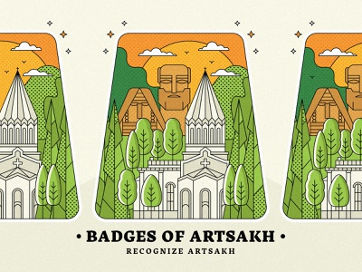 Badges of Artsakh design armeniastrong cometoarmenia beautifularmenia graphicdesign town village badge landscape illustration recognizeartsakh armenia artsakh