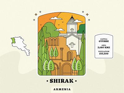 Shirak / Armenia gyumri artwork peace for armenia village town landscape church design armenian church come to armenia armenian province armenia strong armenia architecture lineart vector design graphicdesign illustration