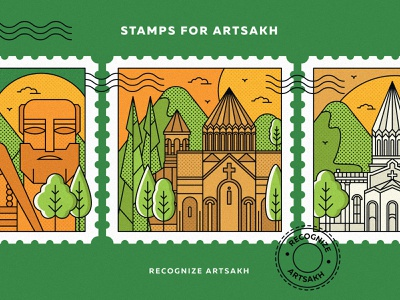 Stamps for Artsakh artsakh strong peace for artsakh recognize artsakh armenian church church design landscape town artsakh illustration artsakh armenia lineart vector artwork design graphicdesign illustration