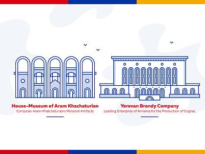 Buildings of Yerevan art direction museum icons icon design buildings yerevan armenia artwork lineart vector design graphicdesign illustration