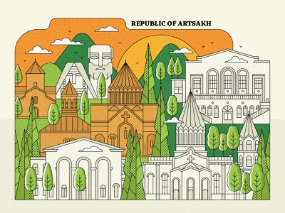 Republic of Artsakh artwork city illustration town landscape church design armenian church recognize artsakh artsakh strong artsakh peace for armenia come to armenia armenia art direction lineart vector design graphicdesign illustration