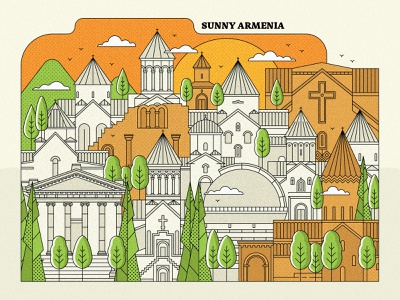 Armenia garni mountains architecture town landscape church design armenian church come to armenia peace for armenia yerevan armenia art direction artwork lineart vector design graphicdesign illustration