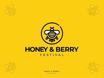 Honey & Berry Festival lineart bee berry honey branding vector design illustration graphicdesign logotype logodesign logo