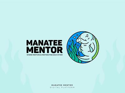 Manatee Mentor art direction mentor manatee branding illustration lineart logotype logodesign logo vector design graphicdesign