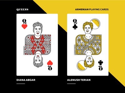 Armenian Playing Cards | Queens queen diana abgar alenush terian armenian playing cards packaging playingcards armenia art direction artwork vector design graphicdesign illustration