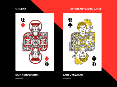 Armenian Playing Cards | Queens character design packaging queens saint shushanik zabel yesayan playing card armenian playing cards armenia art direction vector design graphicdesign illustration artwork