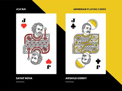Armenian Playing Cards | Jacks character design packaging arshile gorky sayat nova armenian playing cards jack playing cards artwork armenia vector design graphicdesign illustration