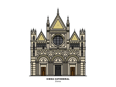 Siena Cathedral cathedral siena catholic roman italy adobeillustrator lineart tuscany graphicdesign line vector illustration