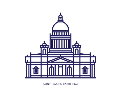 Saint Isaac's Cathedral   Saint Petersburg cathedral russia saintpetersburg icondesign icon lineart graphicdesign line vector