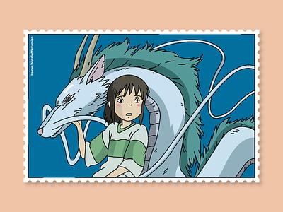 Spitited away / Tichiro & Dragon / Stamps collection ghibli dragon anime tichiro haku spiritedaway stamps design lineart sticker studioghibli illustration
