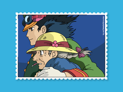 Howl's moving castle / Howl and Sophie / Stamps collection sophie anime howl howlmovingcastle graphicdesign stamps design lineart sticker ghibli studioghibli illustration