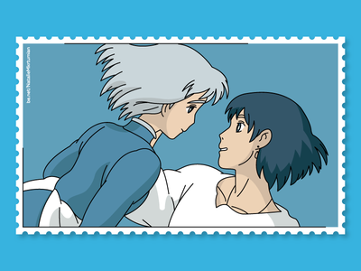 Howl's moving castle / Howl and Sophie / Stamps collection linemaster anime howl howlmovingcastle stamps graphicdesign lineart sticker ghibli studioghibli illustration