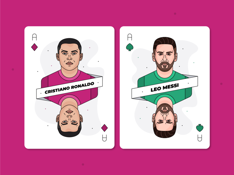 Cristiano Ronaldo & Lionel Messi / Playing Cards footballplayer footballer barcelona juventus designer card playing card playingcards soccer football line design lineart vector graphicdesign illustration