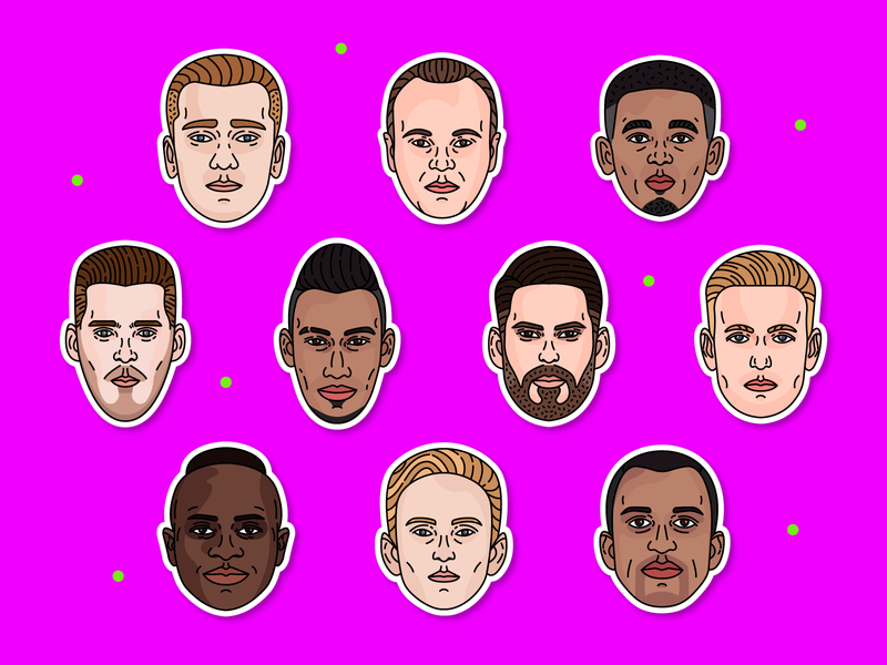 Soccer Players #1 design world cup sport sticker design sticker illustraion david de gea griezmann iniesta isco aubameyang football soccerplayers soccer