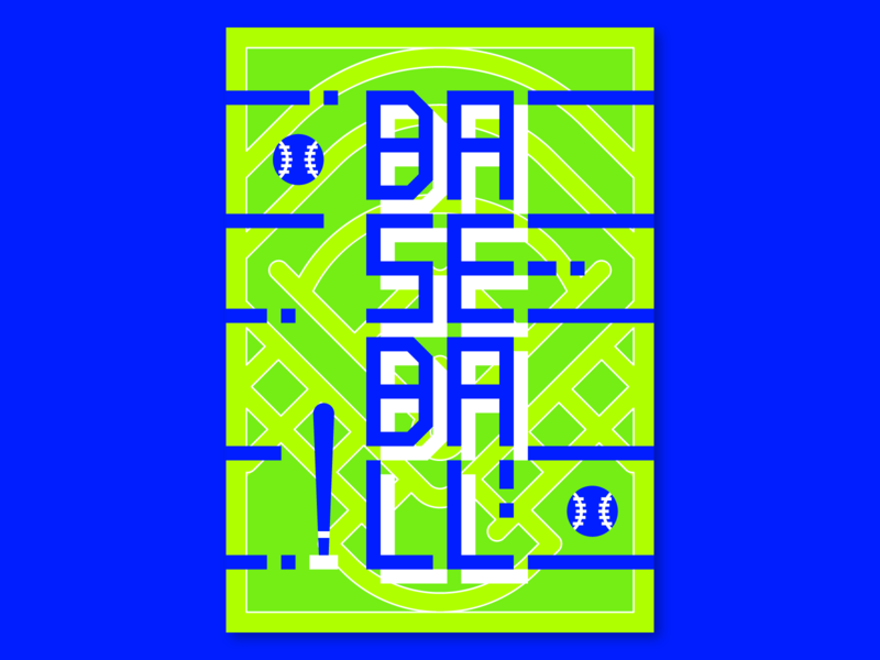 Baseball neon bright color sport poster design graphicdesign sport poster poster design baseball