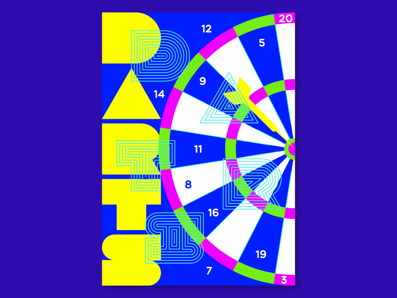 Darts illustration design graphicdesign neon lights neon neon colors experiment poster design poster sport poster sport darts