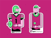 Football & tennis player stickers