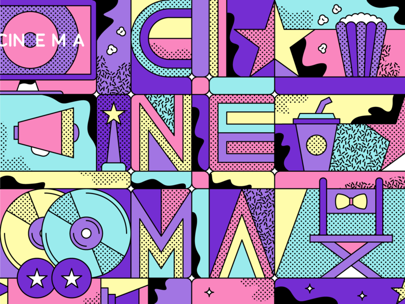 World Cinema Day behance project pattern lineart art direction society6 print art print design graphic design line work illustration popcorn camera movie cinema
