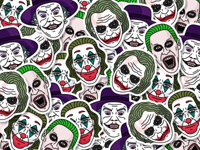 JOKERS | Stickers set vector jared leto heath ledger jack nicholson joaquin phoenix suicidesquad stars the dark knight batman joker movie joker graphicdesign illustration illustrator sticker design sticker