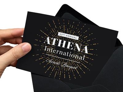 Final Save the Date 2016 •ATHENA International Awards Banquet save the date print stationary mockup athena starburst gold foil