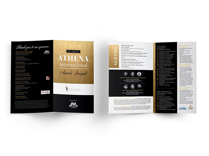 Event Programs • ATHENA International Awards Banquet gold foil brochure print athena international event program layout