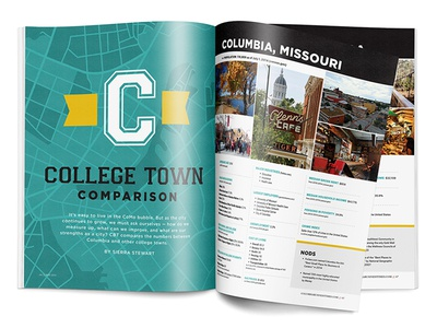 College Town Comparison • CBT May 2016 Feature missouri columbia colorado fort collins waco gainesville layout magazine editorial college towns columbia business times cbt