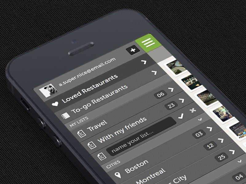 Restos Slide Navigation restaurant navigation iphone ios ui mobile app