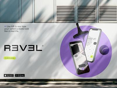 REVEL Billboard tennis ball spinning top billboard education app augmented reality ar design ui technology asis identity argentina branding