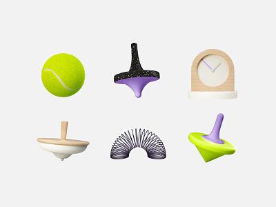 REVEL 3D objects slinky spinning top clock tennis ball cinema4d 3d design illustration technology asis identity argentina branding