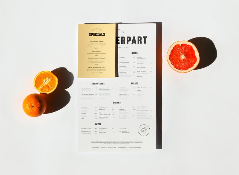Counterpart menu fruit restaurant coffee shop cafe los angeles echo park brunch vegan menu design food logo print asis identity argentina branding