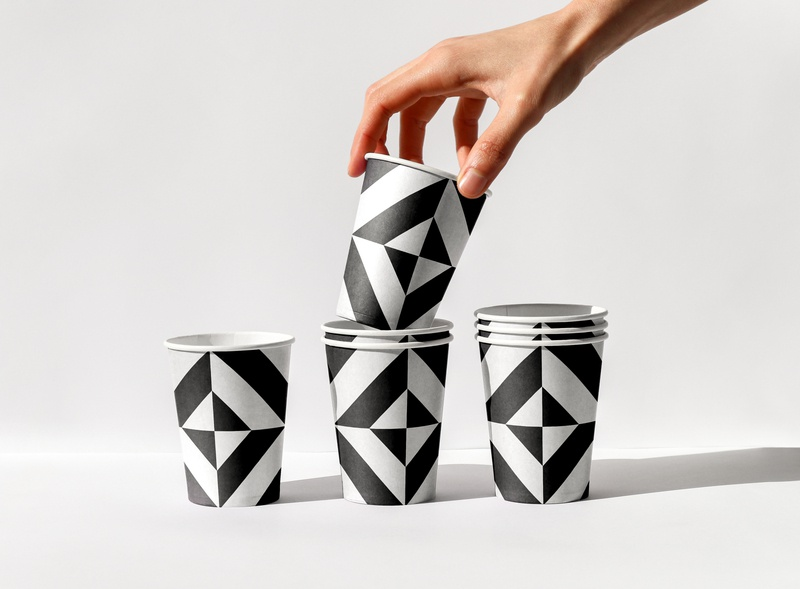 Counterpart cups vegan echo park los angeles brunch black white pattern paper cup coffe shop cafe restaurant design food print asis identity argentina branding