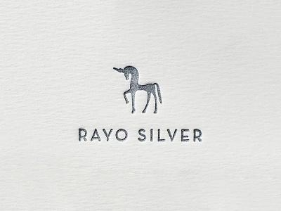 Rayo Silver print logo horse thunder silver unicorn letterpress