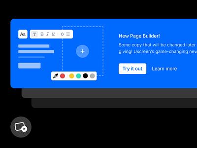 New Page Builder Banner plus block icon illustration banner picker color dark blue theme cms builder